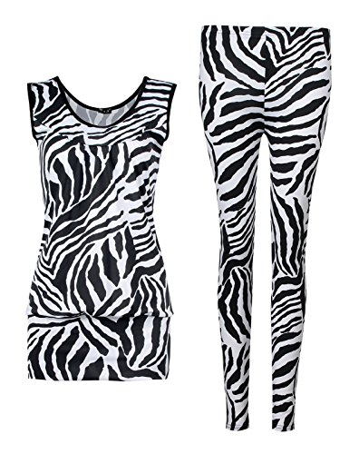 Zebra Frauen Kostüm - Fast Fashion Damen 2 teiliges Set Zebra Druck Ärmelloses Top Leggings
