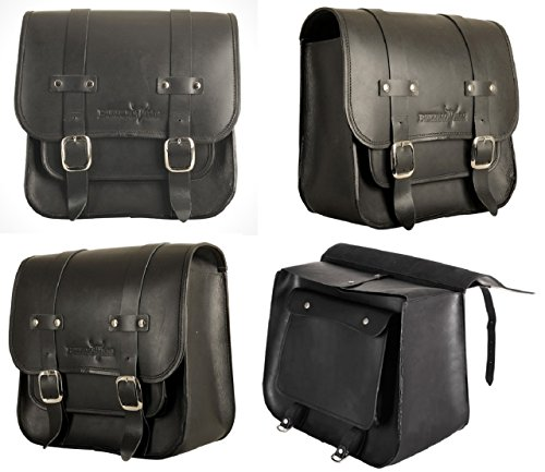Buffalo-Bag-Satteltasche-fr-Harley-Davidson-Softail-Schwarz-17-Liter-OHNE-Halter-gefertigt-aus-hochwertigem-Bffelleder