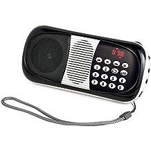 eJiasu Mini Digital Radio FM portátil de tarjetas TF Receptor Apoyo reproductor de música MP3/USB Puerto de salida /Pantalla LED/linterna /auriculares/entrada de audio/cordón para el iPhone iPod PC (Negro)