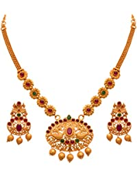 JFL - Traditional Ethnic One Gram Matt Gold Plated Peacock Pink & Green Stone Designer Necklace Set For Women...