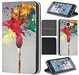 CoverFix Premium Hülle für Samsung Galaxy S7 Edge G935F Flip Cover Schutzhülle Kunstleder Flip Case Motiv (200 Blume Farbe Rot Grün Gelb)
