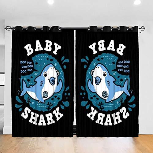 HONGYANW Verdunkelungsvorhänge für Babys, Haifisch-Familie, Jungen, Schnuller, Thermoisoliert, für Schlafzimmer, Wohnzimmer, 132 x 183 cm, 2 Paneele