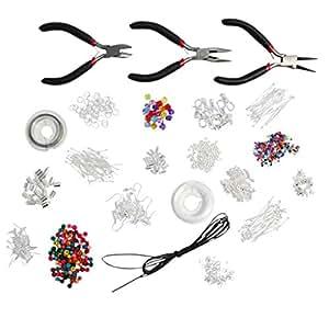 1000 pièces Brillant Kit de démarrage de qualité pour la création de bijoux – Apprêts, perles, fils, fils câblé, accessoires en plaqué argent par Kurtzy TM