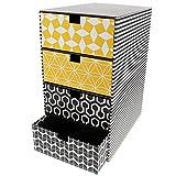 Goldbuch Schubladenbox, Off-line, 25 x 17,5 x 32,5 cm, Mit 4 Schubern, Kunstdruck mit Leinenoptik, Schwarz/Gelb, 85601