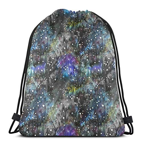Technicolor Watercolor Galaxy Backdrop Drawstring Shoulder Bags Gym Bag  Travel Backpack Lightweight Gym for Men Women 16 9