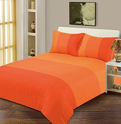Double Bed Duvet / Quilt Cover Bedding Set Lexie Orange Plain 3 Tone