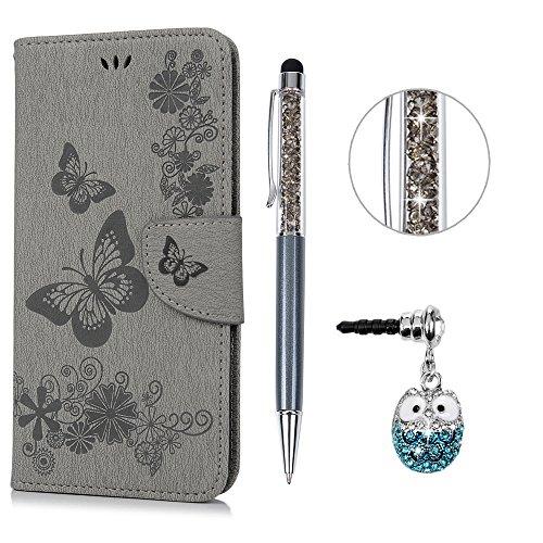 e Leder Case,KASOS iPhone 6 Plus Handyhülle Brieftasche Book Type PU Leder +TPU Innere Tasche Bunt Gemalt Magnetverschluss Ledertasche Cover,Gray + Touch Pen + Stöpsel Staubschutz ()