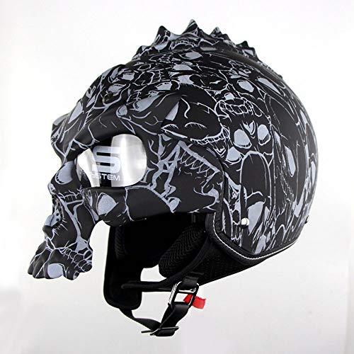 MQW ABS-Material Schädel abnehmbare Maske Helm Motorrad Reiten Halbhelm Harley Lokomotive Elektroauto Sommer Helm Blendung warm atmungsaktiv Schöne Persönlichkeit (Color : Black 1, Size : XL) -