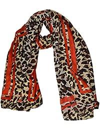 KGM Accessories Luxe Grande Taille Super Doux Imprimé léopard Rouge à  Rayures Écharpe Châle – Plus 61209b128d4