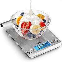 Uten Báscula Digital de Cocina Hangable Balanza Ultrafino de Acero Inoxidable,Precisión Báscula de Alimentos con la Función de Cuenta Regresiva, 0.1Ib-5kg,Peso de Cocina de Alimentos Multifuncional, Color Plata (Baterías Incluidas)