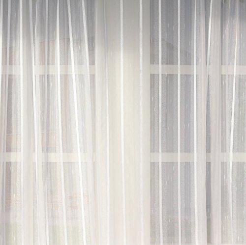 EASYHomefashion Hochwertige Fertiggardine - Voile Store STREIFENVOILE - Faltenband&Bleiband »Elegance« Versch. Größen, 275 x 450 cm (HöhexBreite)