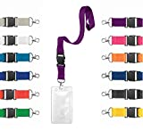 Karteo® Ausweishülle vertikal Din A7 (74 x 105mm) mit Band 20 mm Schlüsselband Lanyard lila aus Plastik transparent für Karten Ausweise Dienstausweis Messen benutzbar als Ausweishüllen Kartenhülle Kartenhüllen Ausweishalter Kartenhalter