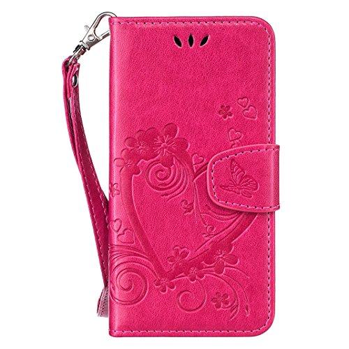 iPhone 7 Flip Cover, iPhone 7 Handyhülle mit Lanyard, iPhone 7 Bumper Flip Case, Moon mood® Mit Diamanten Ledertasche Brieftasche für iPhone 7 (4.7 Zoll) ,PU Leder Hülle Wallet Case Folio Schutzhülle  U-Rote