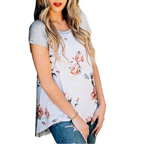 Rosennie Damen Gedruckt Bluse Tops T-Shirt Weiß