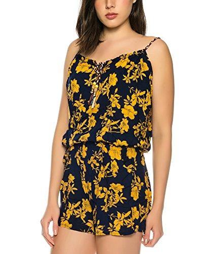 Dress Sheek Damen Jumpsuit Playsuit Sommer Luftig Mehrfarbig Gemustert Overall Kurz R309-Gelb