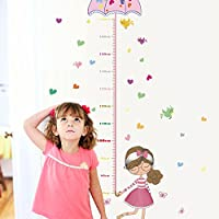 Cute Girl Height Umbrella Wall Stickers Kindergarten Bedroom Living Room Children Room Wall Height Stickers