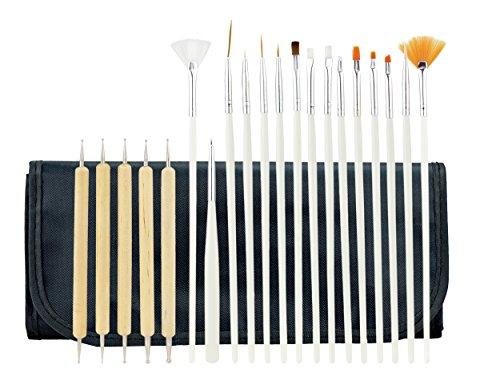 FiveSeasonStuff 20 pièces Nail Art Désign Pinceau à Peinture et Pointillage Stylo Outil Kit avec sac à rouleaux noirs (15 pinceaux et 5 stylos à pointillés)
