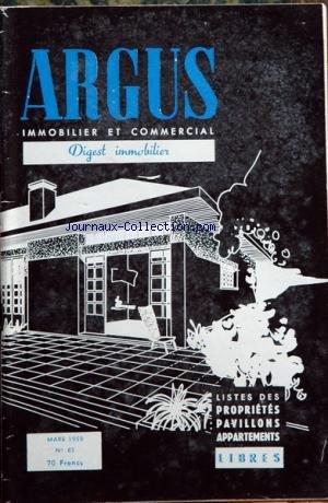 ARGUS IMMOBILIER ET COMMERCIAL (L') [No 65] du 01/03/1959 - liste des appartements et proprietes a vendre libres a paris et sa banlieue