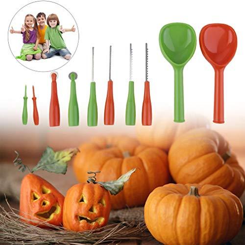 Halloween Kürbis Schnitzset Schnitz Tool Kit Schnitzwerkzeuge 10 Stück aus Edelstahl und Kunststoff Pumpkin Lamp Carving für Kinder (Orange Grün)