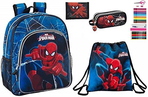 Marvel Spiderman Set - Rucksack, Turnbeutel, Federmäppchen und Geldbörse (Geldbörse Turnbeutel)