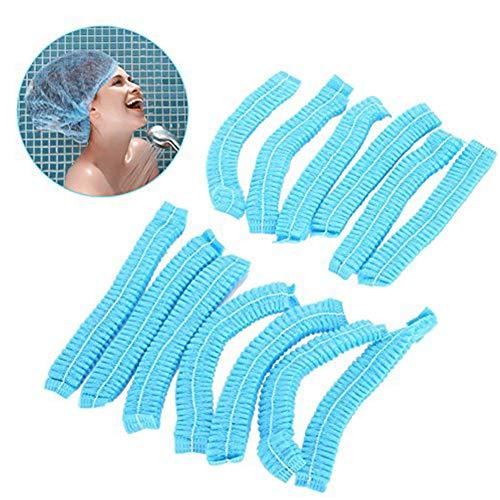 Duschhaube, 100 Stücke Non Woven Einweg Bouffant Haar Duschhaube Gefaltete Anti Staub Net Blue Strip Hut für Salon -