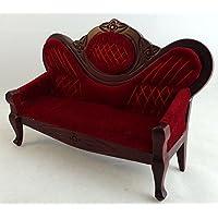 Dolls House Miniature Furniture Mahogany & Red Victorian Salon Sofa 601