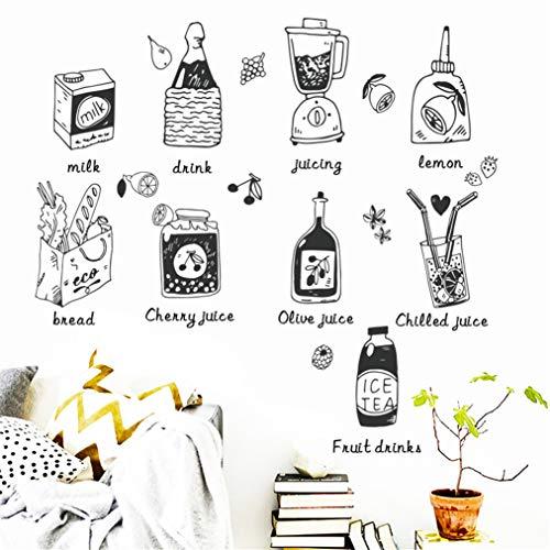 EWQHD Kreative Saft Küchen-Karikatur-Wand-Aufkleber Restaurant Kühlschrank Wand-Aufkleber-Dekor-Wohnzimmer-Aufkleber Mural - Engel Saft
