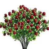 HUAESIN 3Pcs Kunstpflanzen Deko Künstliche Stechpalme Beeren Rot Beerenzweige Künstlich Strauch Unechte Pflanzen für Winter Herbst Zuhause Kamin Balkon Weihnachten Kranz Dekoration