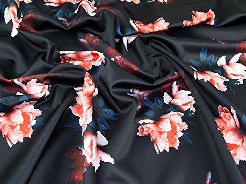Floral Print Scuba Stretch Jersey Kleid Stoff schwarz & rot–Meterware (Print-stretch-jersey)