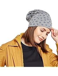 Vimal Jonney Grey Melange Printed Cotton Beanie Cap For Women-CAP_PRINTNO.4_MLG_001