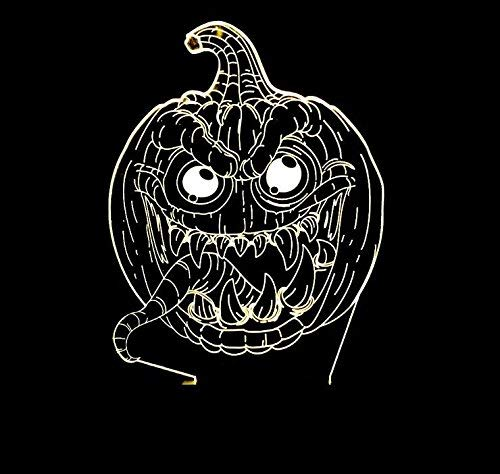 BMY Kleine Nachtlichter Halloween-Kürbis-Laternen 3D Bunte USB-Noten-Fernschalter beleuchtet Tischlampen der optischen Täuschung Dekoration Geburtstags umweltfreundliche Lampen. (Halloween-kürbis Beleuchtete Dekoration)