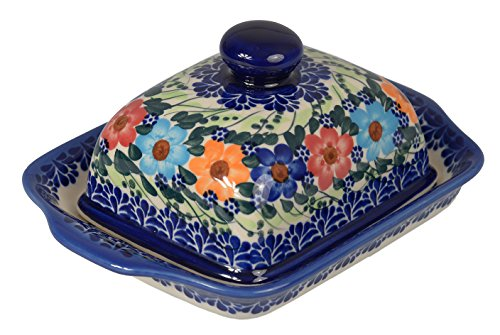 Traditionelle Polnische Keramik, handgefertigte Butterdose mit Deckel mit Muster im Bunzlauer Stil, B.101.GARLAND