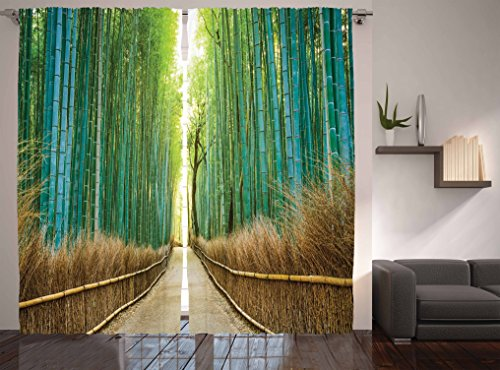 Ambesonne Curtains for Living Room Collection, Fall Wooden Bridge ...