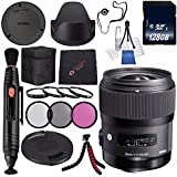 Sigma 35mm F/1.4 DG HSM Art Lens For Nikon DSLR Cameras #340306 + 67mm 3 Piece Filter Kit + 128GB SDXC Memory Card + Lens Pen Cleaner + Cloth + Flexible Tripod Bundle (International Model No Warranty)