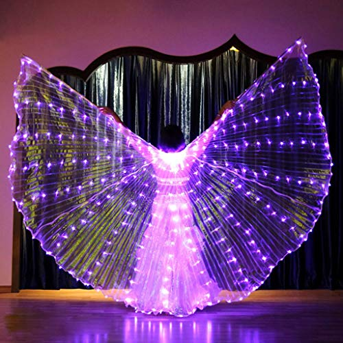 Des Kostüm Teufels Sprechen - Chejarity Isis Flügel Bauchtanz LED Flügel Wings Erwachsenen Bühnen Performance Kleidung Halloween Karneval Cosplay Party Fasching Kostüme mit Teleskopstöcke Tanzen Requisiten (One Size, Lila)