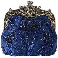 Best 4U® Femme Sacs Polyester Métallique Sac de soirée Billes Broderie pour Soirée Fête Toute Saison Bleu Champagne Or Noir Argent