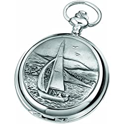 Woodford Skeleton Pocket Watch, 1911/SK, Men's Chrome-Finished Sailing Scene Pattern with Chain (Suitable for Engraving)