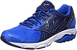 Mizuno Men's Wave Inspire 14 Running Shoes, Multicolor (Directoirebluebluedepthssafetyyellow 17), 7.5 Uk