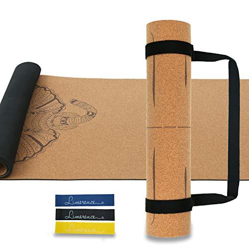 Limerence Premium Yogamatte aus Kork & Naturkautschuk mit rutschfest Schadstoffrei Feuchtigkeitsbeständig-183x61cm, 5mm mit Tragegurt und Bonuswiderstand Schleifenbänder Set für Yoga Pilates -