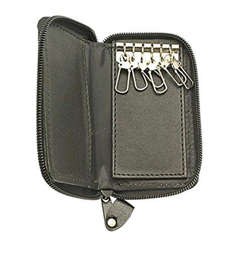 Morbido Zip nero intorno Pocket Caso Portachiavi - Contiene 6 chiavi