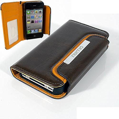 iPhone 4 Hülle, numia Handyhülle Handy Schutzhülle [Book-Style Handytasche mit Standfunktion und Kartenfach] Pu Leder Tasche für iPhone 4s Case Cover [Braun-Orange]