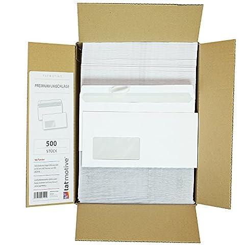TATMOTIVE Briefumschläge DIN lang Mit Fenster (500 Stück) Weiß, Haftklebend (kein Austrocknen - bis 5 Jahre!) 220 x 110 mm, 80 g/qm