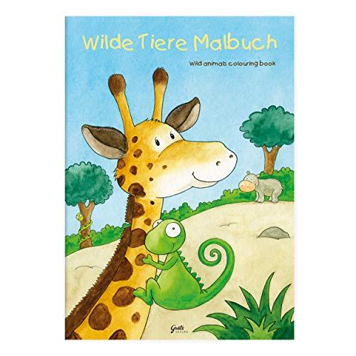 Kinder lieben Ausmalen! - Malbuch DIN A4, ab 3 Jahren, Wilde Tiere mit Verschiedenen Tier- und Wüstenmotiven wie Giraffe, Nilpferd, Elefant, Kamel, Gecko, Meerkatze und Kaktus, für Jungen und Mädchen