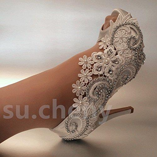 JINGXINSTORE Di seta bianca aperta in pizzo Punta Cristallo scarpe matrimonio sposa White