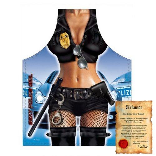 bedruckte Karneval Grillschürze - sexy Motiv: Police Girl - coole lustige Fasching Party Koch Schürze Latzschürze Fastnacht (Teufel Und Engel Freund Kostüme)