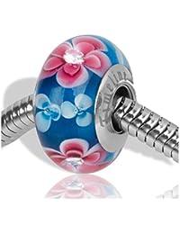 Timeline Treasures - Abalorio de cristal de murano compatible con pulsera Pandora, diamante de imitación, color rosa