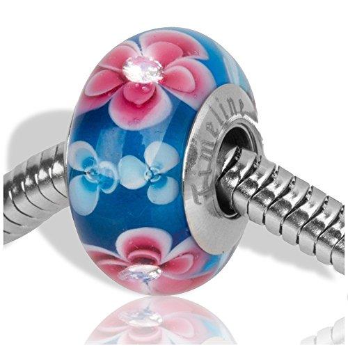 Sterling Silber Brighton Schmuck (Timeline Treasures Europäischen Charm Bead für Pandora-Armband Glasperle Strass Rosa Frangipani)