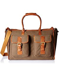 Hidesign Leather-Canvas 43 cms Desert Palm and Tan Travel Duffle (BEDOUIN 05)
