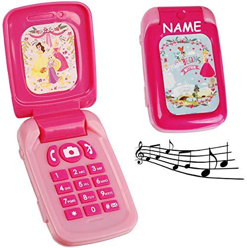 Handy mit Sound - Disney Princess - Prinzessin - incl. Name - für Kinder / Mädchen - Maus - Auto Kinderhandy / Spielzeughandy - Spielzeugtelefon - Klapphandy ..