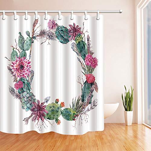 EdCott Floral Botanical Plants Decor Aquarell Kaktus Blumen mit Federn und Pfeilen Duschvorhänge Polyester Stoff Wasserdicht Bad Vorhang 71X71 in Duschvorhang Haken enthalten